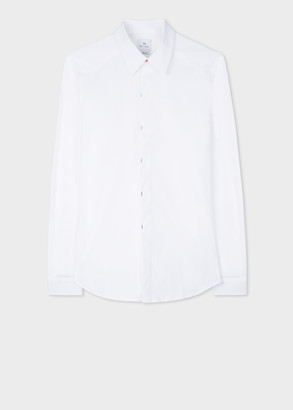 Paul Smith Men's Tailored-Fit White Shirt With Gradient Bar Tacks