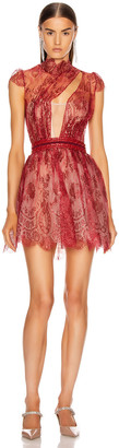 Aadnevik French Lace Mini Dress in Red Iridescent | FWRD