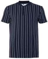 Topman Navy Stripe Baseball Neck T-Shirt