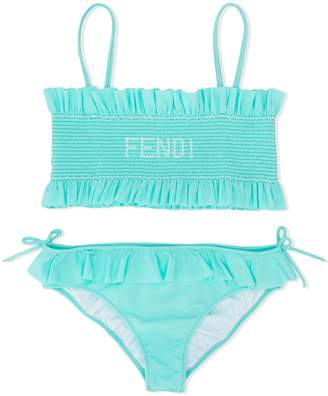 Fendi frilled smocked bandeau bikini