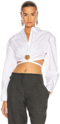 CHRISTOPHER ESBER Pierced Cropped Shirt in White | FWRD