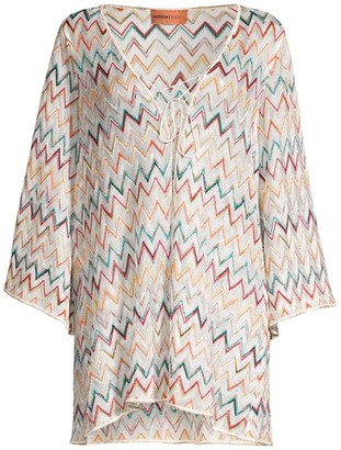 Missoni Mare Metallic Chevron Long Sleeve Cover-Up