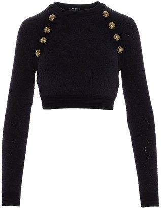 Balmain Buttoned Cropped Sweater