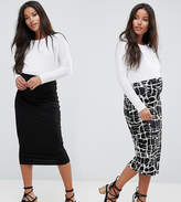 Asos Over The Bump Skirt 2 Pack Midi In Print & Plain