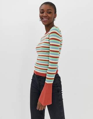 Asos Design DESIGN skinny crew neck jumper with flared sleeve in stripe-Multi