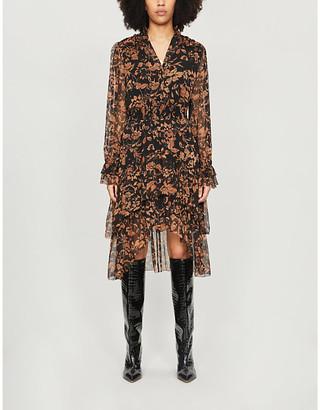 The Kooples V-neck asymmetric floral-print crepe midi dress