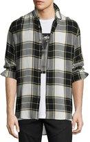 Public School Flannel Plaid Back-Patch Shirt, Black/White/Yellow
