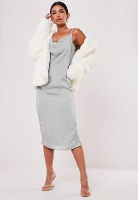 Missguided Blue Satin Cowl Neck Midaxi Dress