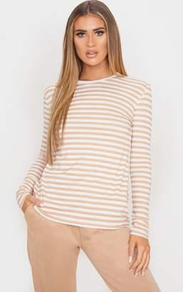 PrettyLittleThing Sand Stripe Jersey Long Sleeve T Shirt