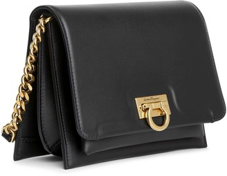Salvatore Ferragamo Trifolio crossbody black leather bag