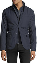 Neiman Marcus Double-Closure Hybrid Quilted Jacket
