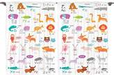 Ambesonne Kids Decor Collection, Zoo Animals with Letters of the Alphabet Educational Classroom Playroom Decors Reading Writing, Window Treatments for Kids Curtain 2 Panels Set, 108 X 84 Inches, Multi