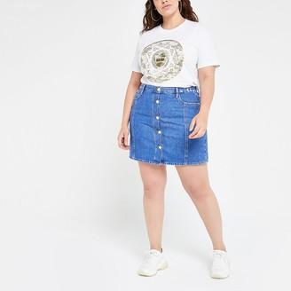 River Island Plus blue button front denim mini skirt