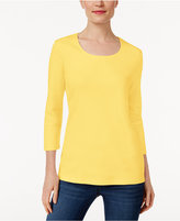 Karen Scott Three-Quarter-Sleeve Top, Only at Macy's