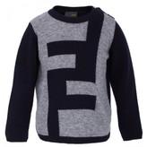 Fendi Navy Knit Logo Jumper