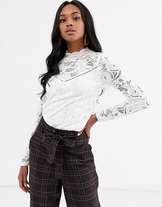 Vila high neck lace top-White
