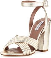 Tabitha Simmons Nora Crisscross Chunky-Heel Sandal, Champagne Gold