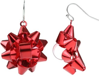 Holiday Ribbon Bow Nickel Free Drop Earrings