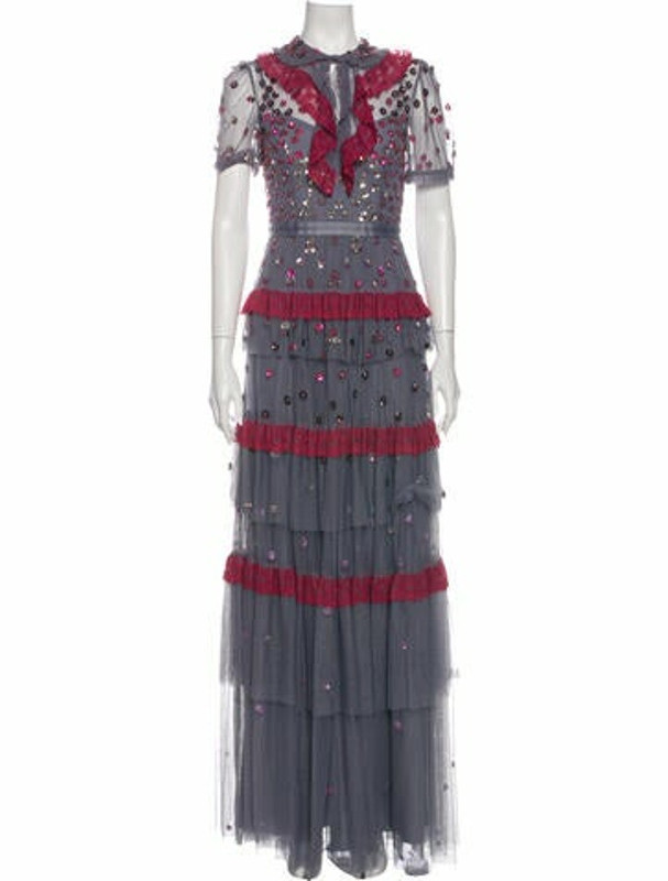 Needle & Thread Printed Long Dress w/ Tags Purple