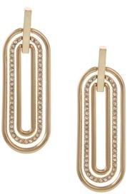 Christian Siriano New York Gold Tone Elongated Oval Linear Earrings
