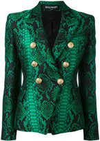 Balmain printed double breasted blazer - women - Cotton/Polyamide/Polyester/Viscose - 38
