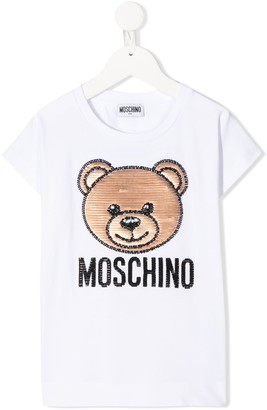 MOSCHINO BAMBINO logo embroidered T-shirt