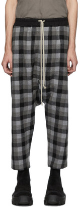 Rick Owens Black Plaid Drawstring Cropped Trousers