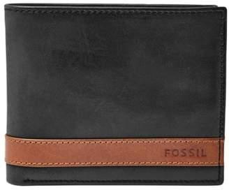 Fossil Quinn Large Coin Pocket Bifold Wallets Black