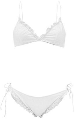 Oseree Ruffled Glitter-embellished Bikini - White