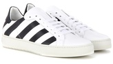 Off-White Striped Leather Sneakers