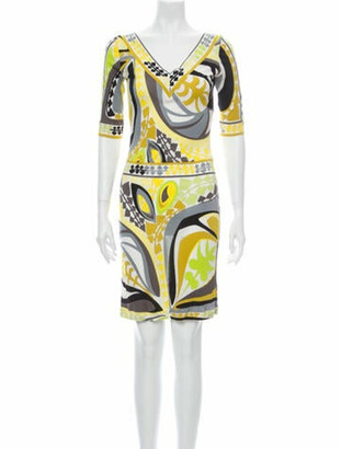 Emilio Pucci Printed Knee-Length Dress Yellow