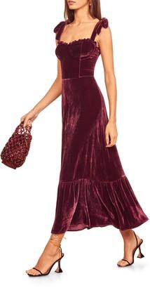 Reformation Antoinette Tie Strap Velvet Midi Dress