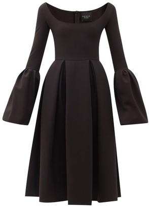 A.W.A.K.E. Mode Bell-sleeve Pleated Crepe A-line Dress - Black