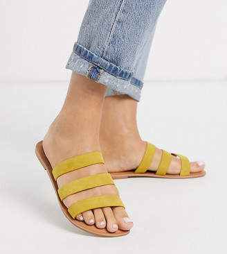 ASOS DESIGN Wide Fit Farren leather flat sandals in yellow