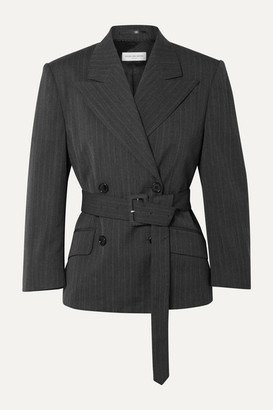 Dries Van Noten Belted Double-breasted Pinstriped Twill Blazer - Dark gray