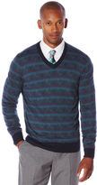 Perry Ellis Multi Color Pattern V-Neck Sweater