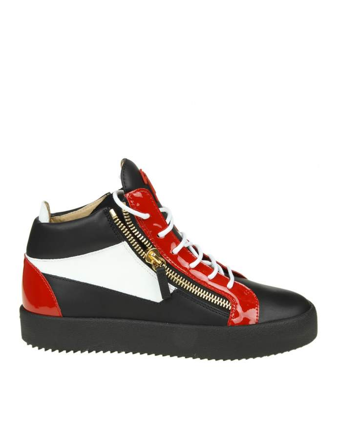 Giuseppe Zanotti may Sneakers In Black Leather With Red And White In