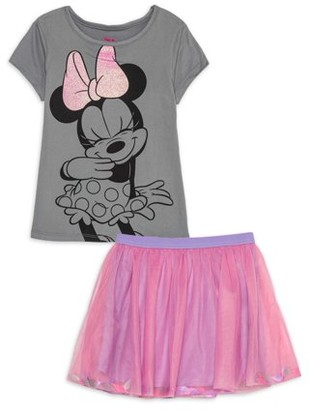 Minnie Mouse Girls Flirt Graphic Tee and Tutu Skirt, 2-Piece Outfit Set, Sizes 4 -6x