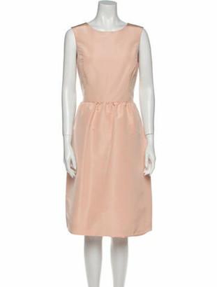 Oscar de la Renta Silk Midi Length Dress Pink