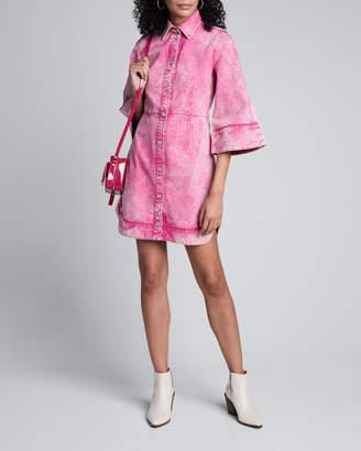 Ganni Washed Denim 3/4-Sleeve Dress