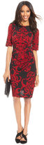Connected Scroll-Print Side-Pleat Sheath