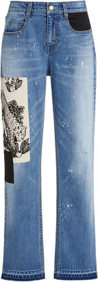 Hellessy Mcaulay Tiger-Patch Distressed Straight-Leg Jeans