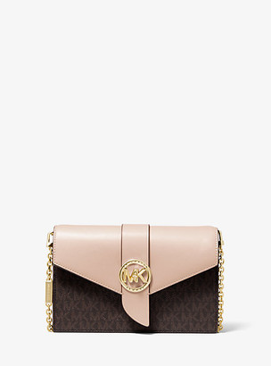 Michael Kors Medium Logo and Leather Convertible Crossbody Bag