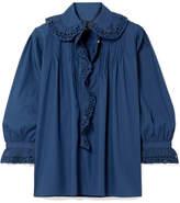 Nili Lotan Mai Ruffled Pintucked Broderie Anglaise Cotton Shirt - Blue