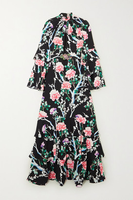 Andrew Gn Tiered Ruffled Floral-print Silk Crepe De Chine Gown - Black