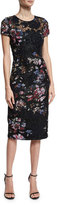 David Meister Short-Sleeve Floral Embroidered Sheath Dress, Black