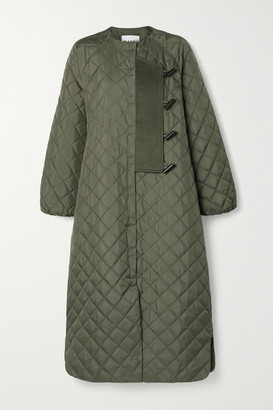 Ganni Felt-trimmed Quilted Ripstop Coat - Army green