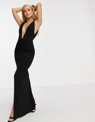 Club L London plunging sleeveless front split maxi dress in black