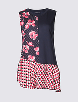 Limited Edition Floral Print Asymmetric Sleeveless Tunic
