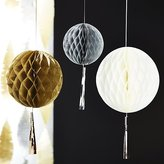 Crate & Barrel Party Honeycomb Balls with Tassels, Set of 3
